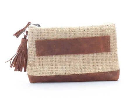 Burlap & Leather Clutch