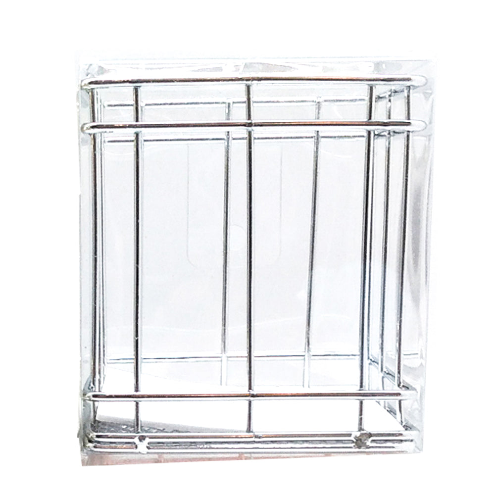 Square Metal Pen Stand Silver