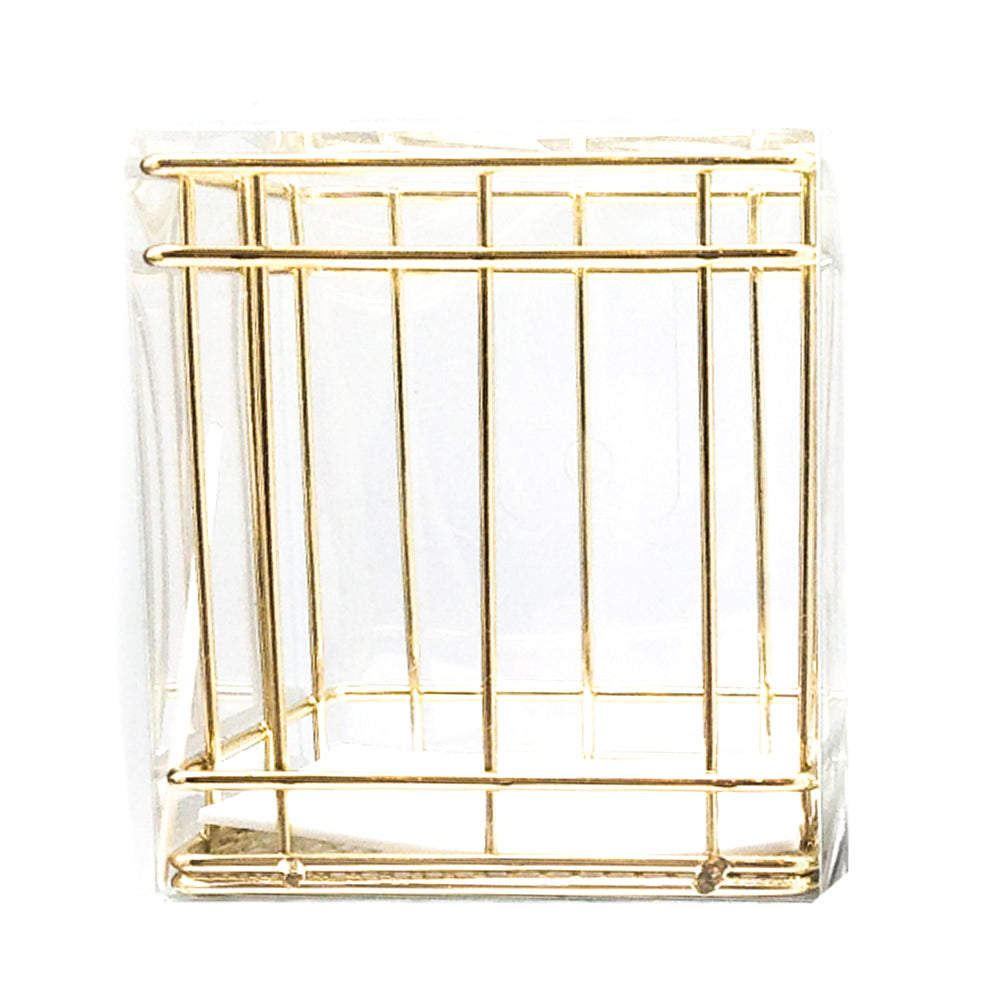 Square Metal Pen Stand Gold