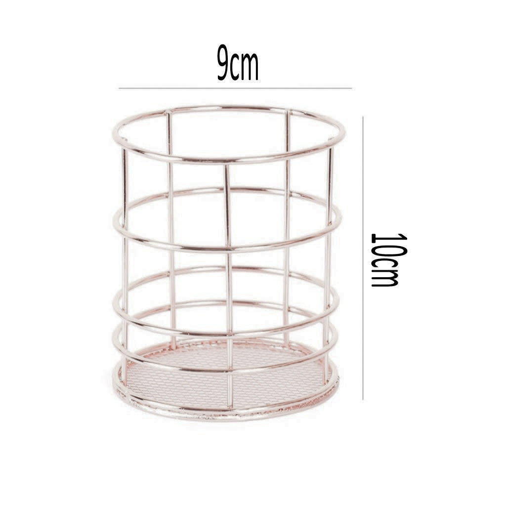 Round Metal Pen Stand Sliver