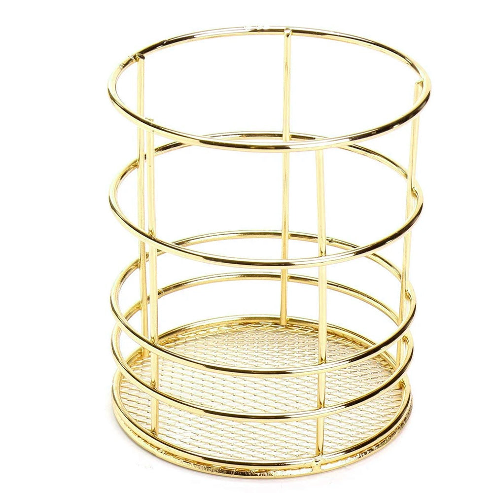 Round Metal Pen Stand Gold