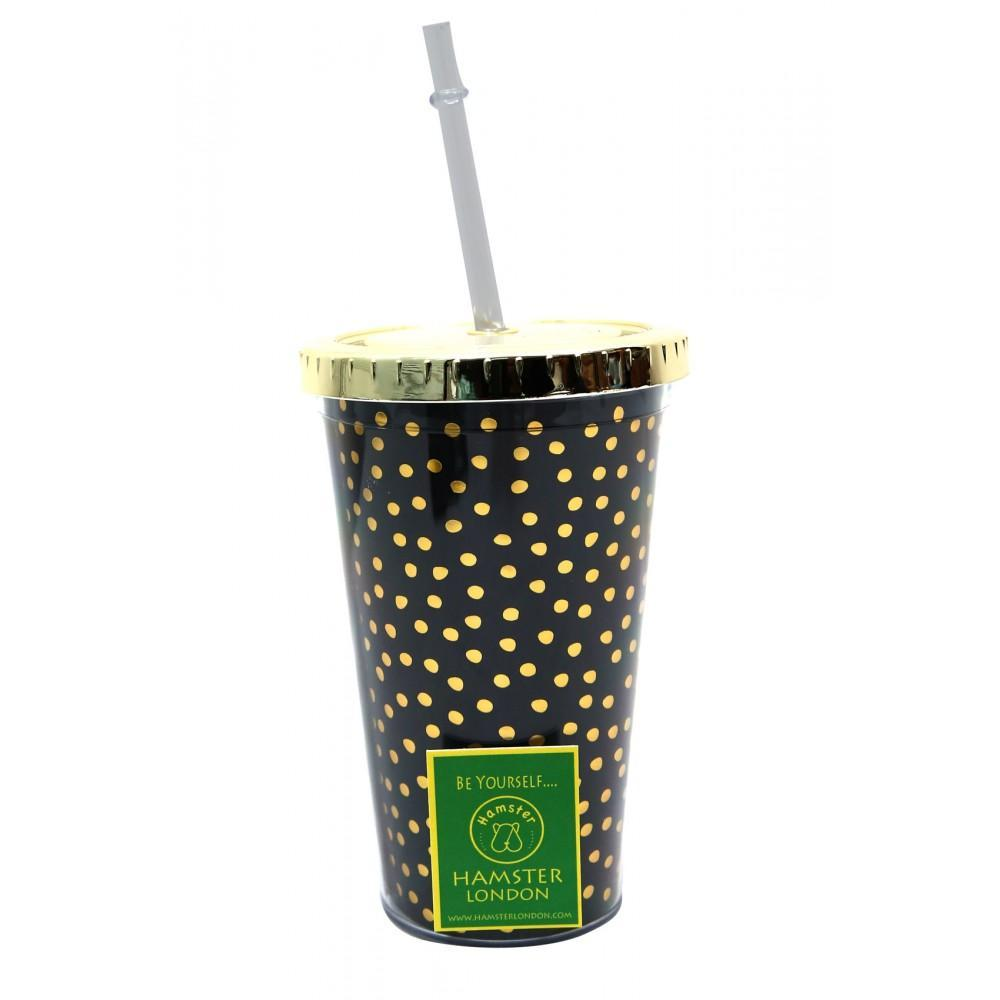 Golden Dotted Black Straw Sipper