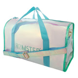 Shiny Duffle Bag Aqua With Bottle