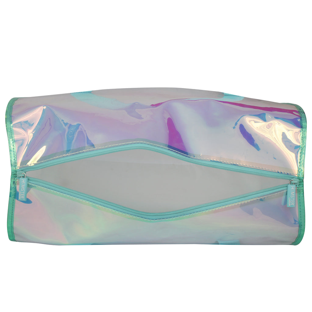 Shiny Duffle Bag Aqua With Customization