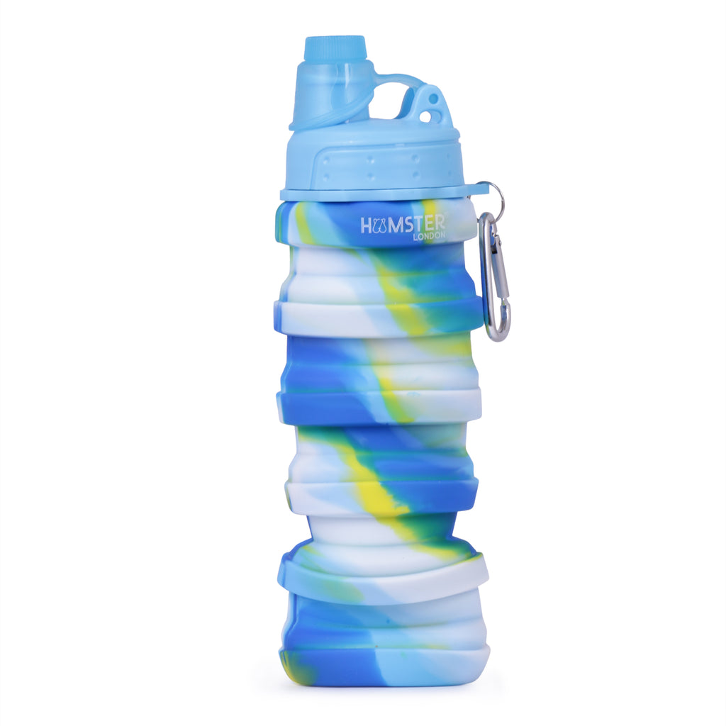 Silicone Expandable and Foldable Water Bottle White Blue
