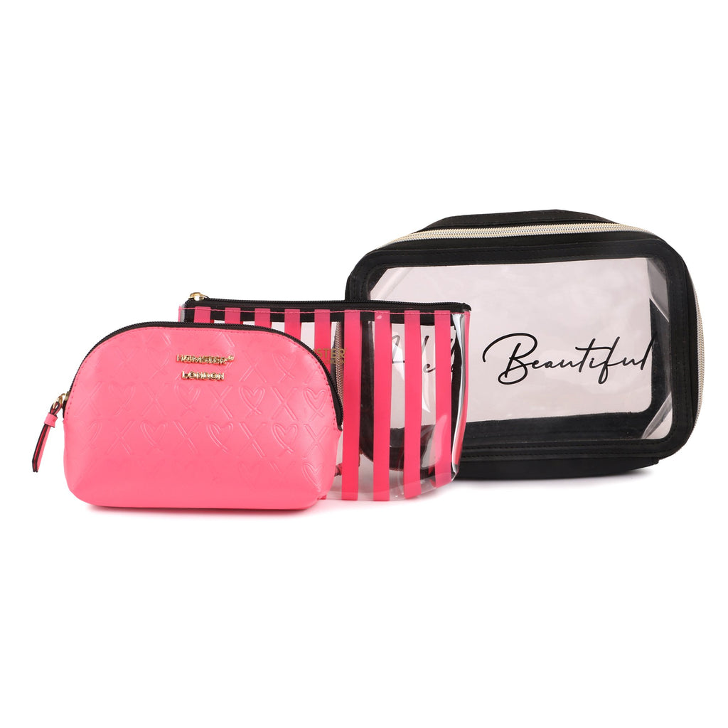 Boston Bag Pink With Makeup Pouch Set Of 3