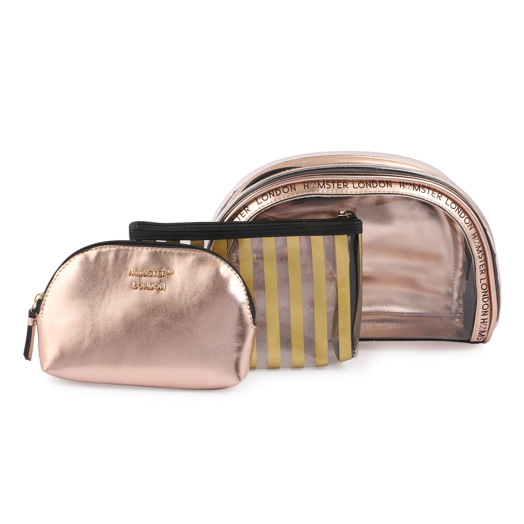 Boston Bag Black With Makeup Pouch Set Of 3 Gold