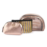 Cosmetic Gold Travel Pouch Waterproof Zipper Set of 3