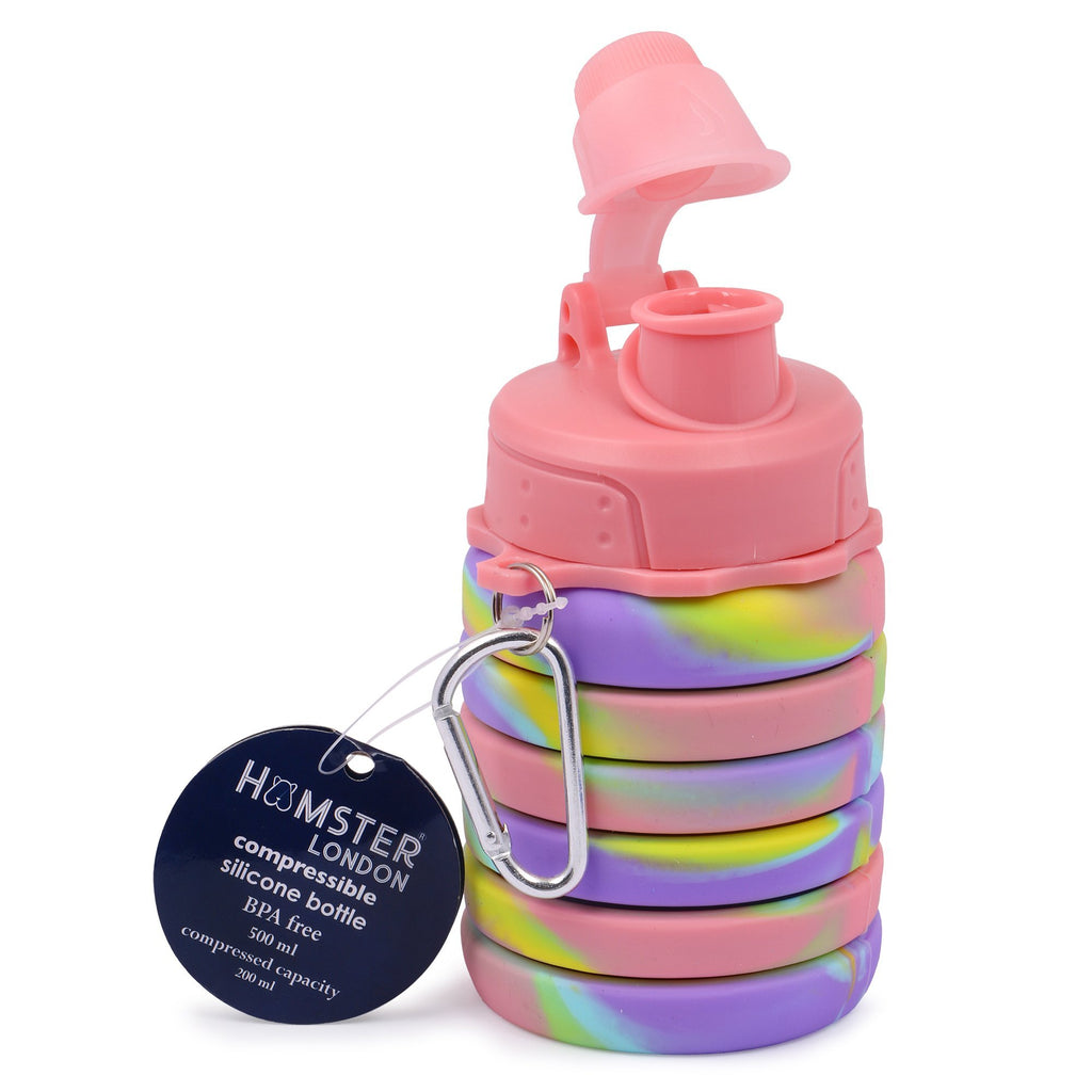 Silicone Expandable and Foldable Water Bottle Pink