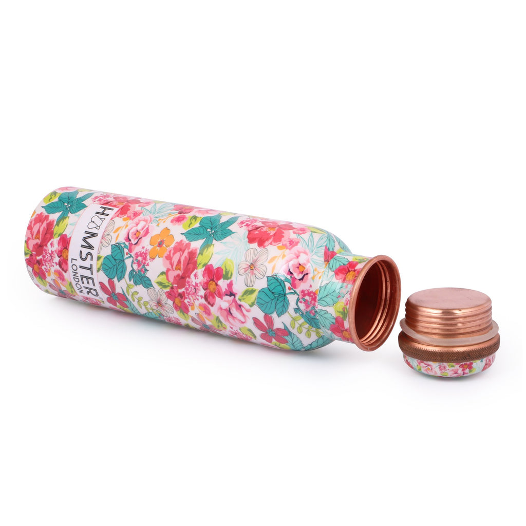 Printed Copper Bottle Floral White