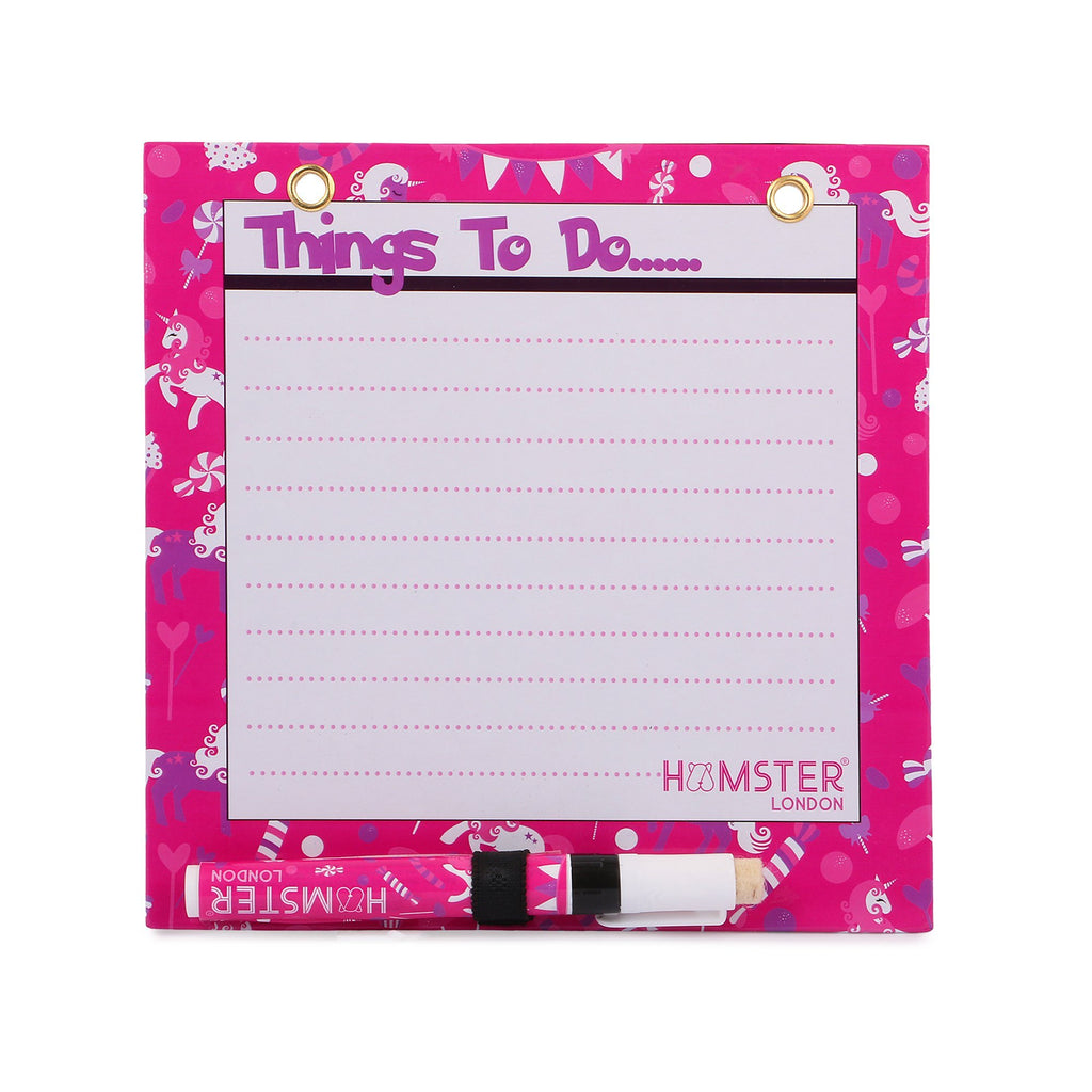 Square Magnetic White Board Unicorn Hot Pink