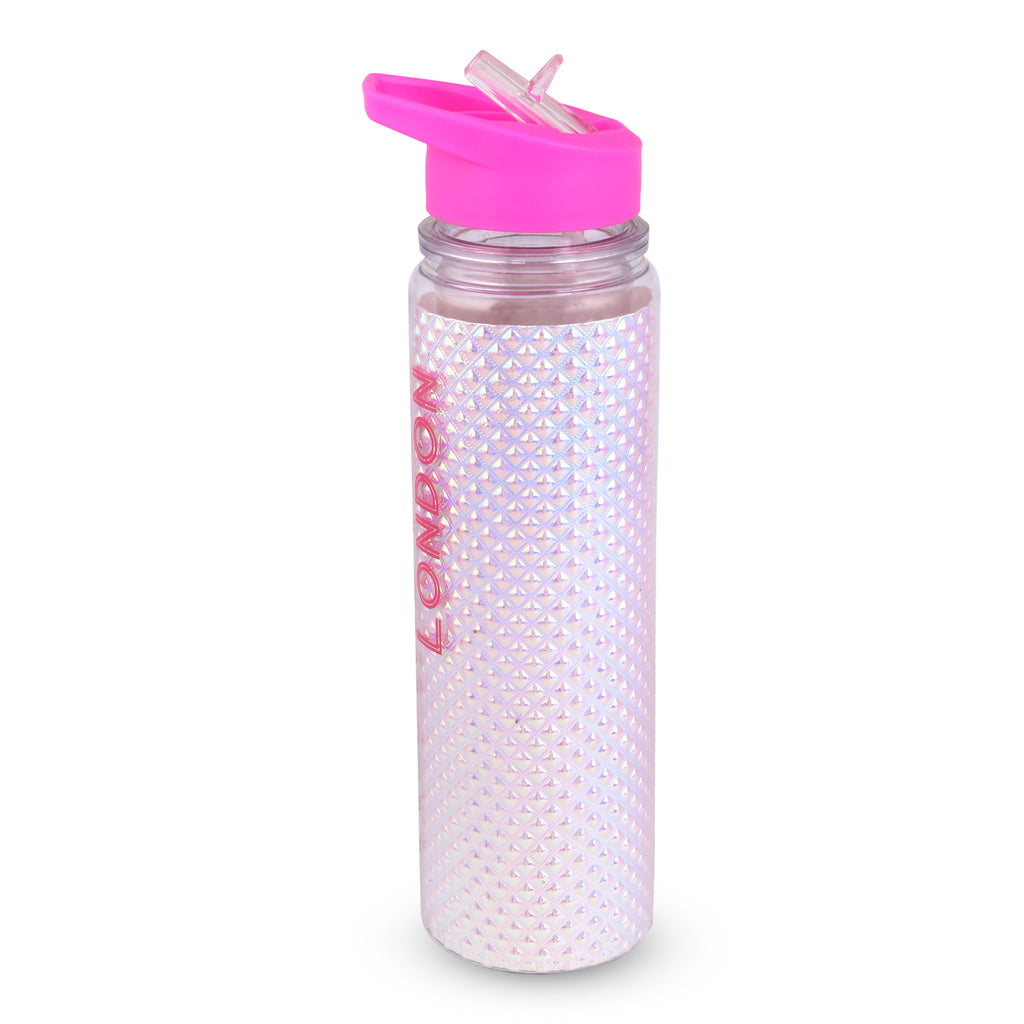 Glitter Shiny Sipper Water Bottle White Pink