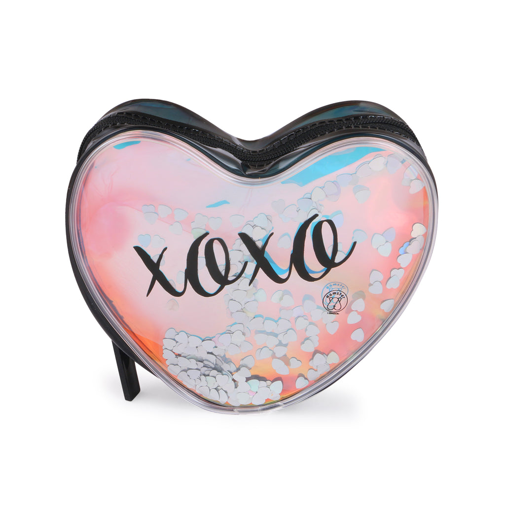 XOXO shiny pouch Makeup Pouch Coin Pouch Black