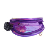 Pom Pom Sling Bag For Makeup Accessories Purple