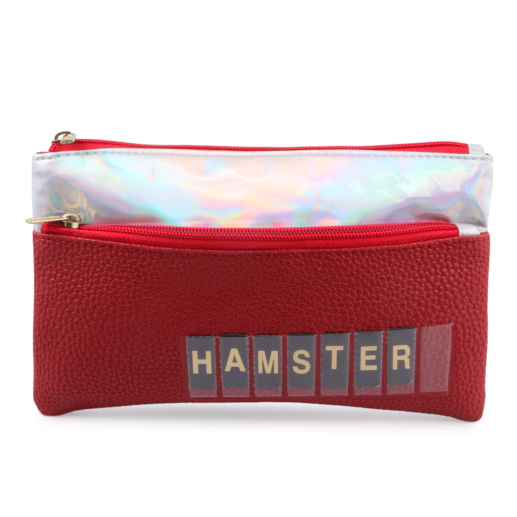 This customized red color pouch looks elegant and attractive. it is a must have accessory to add in your wardrobe. Hamster London's red color are selling like hot cakes