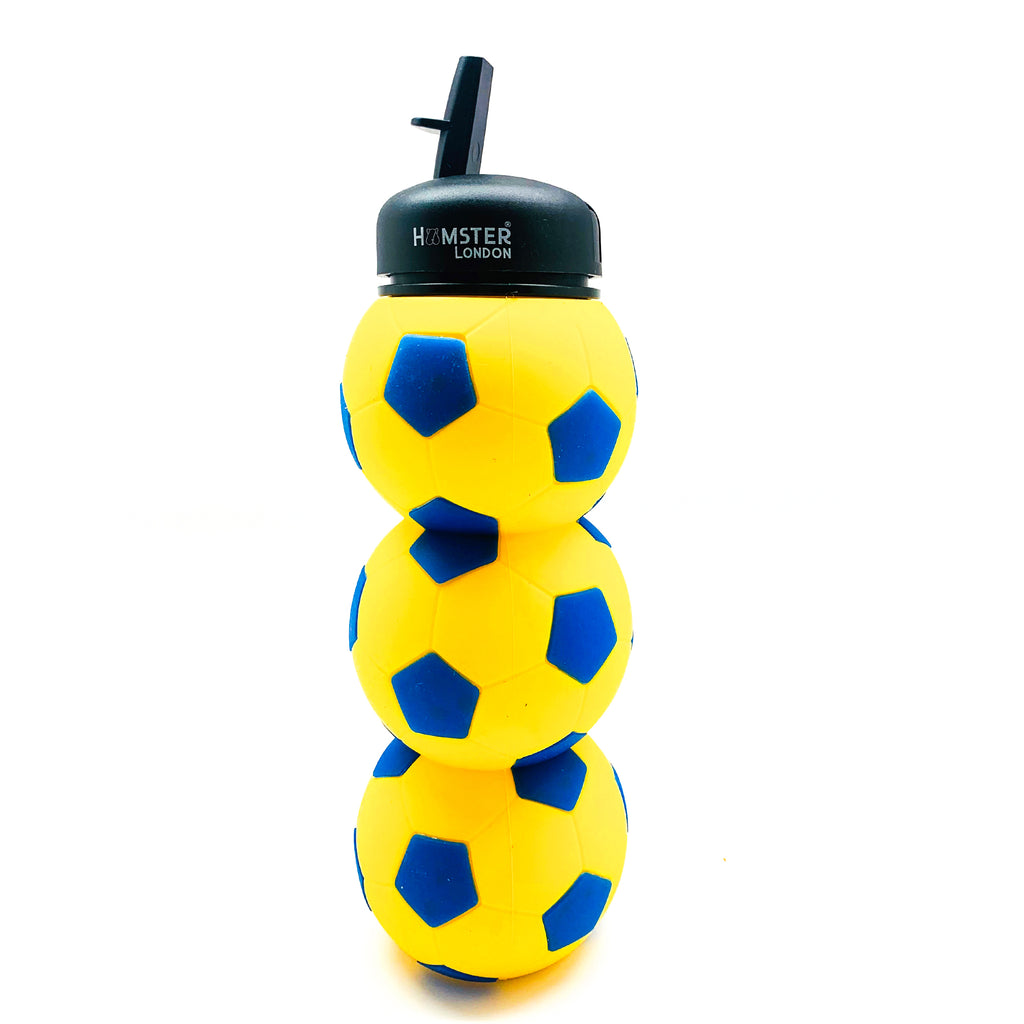 Football Silicone Water Bottle Yellow