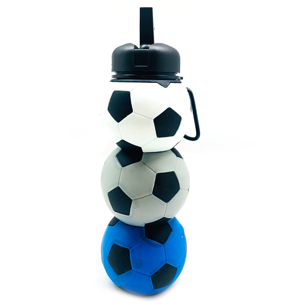 Football Silicone Water Bottle Blue