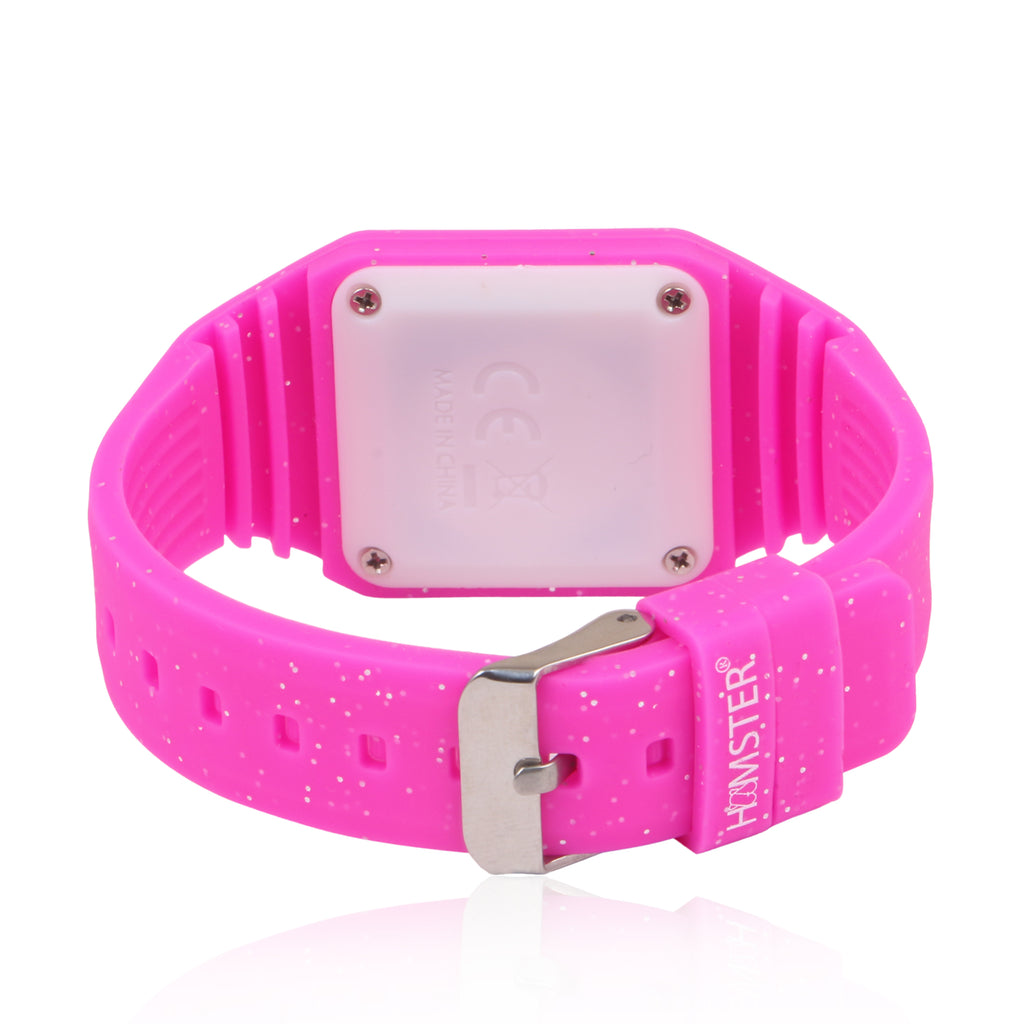 Silicon Glitter Digital LED Band Wrist Watch for Girls Pink Glitter