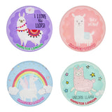 Crystal Glass Magnet Lama Set of 4