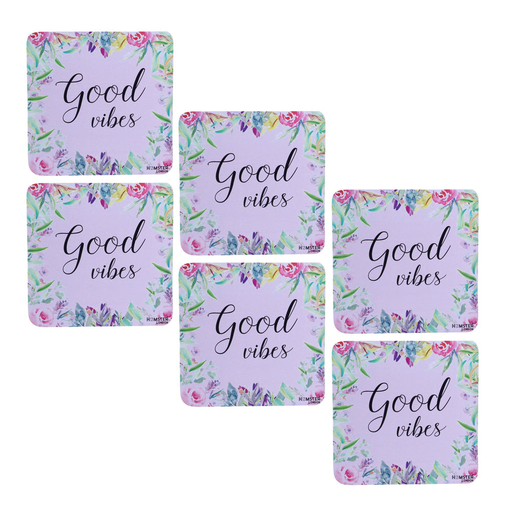 Hamster London Wooden Coasters for Home Set of 6 (good vibes)