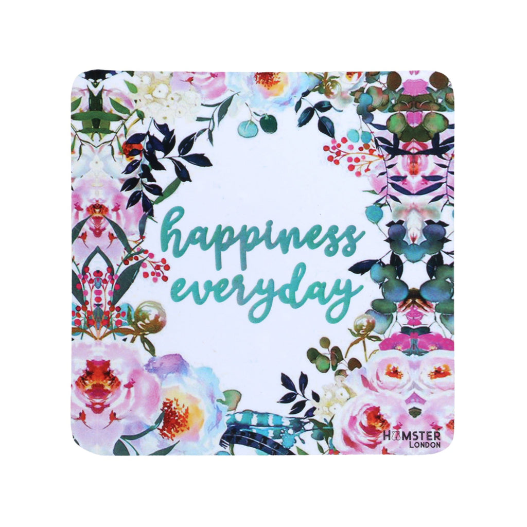 Hamster London Wooden Coasters for Home Set of 6 (happiness everday)