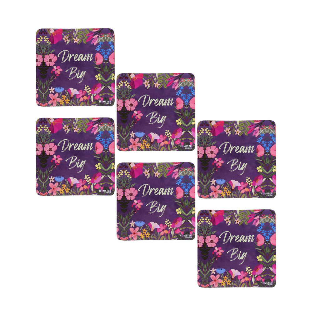 Hamster London Wooden Coasters for Home Set of 6 (dream big)