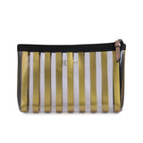 Gold Strip Makeup Pouch