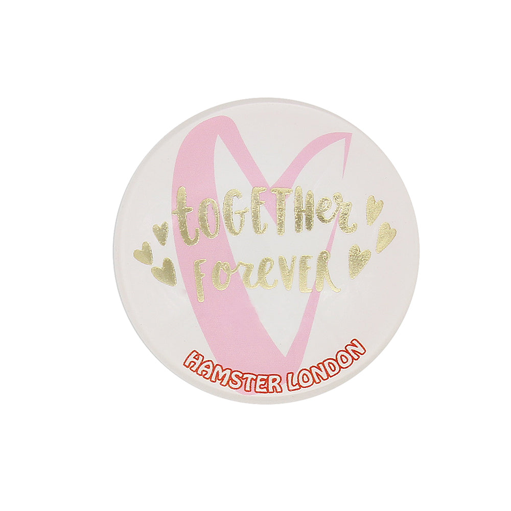 Crystal Glass Magnet Love White