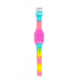 Silicon Glitter Digital LED Band Wrist Watch for Girls Pink Glitter Multi Color