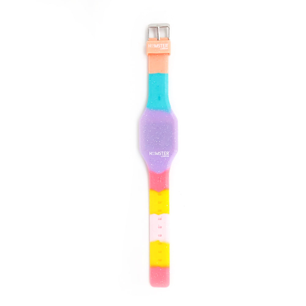 Silicon Glitter Digital LED Band Wrist Watch for Girls Purple Glitter Multi Color