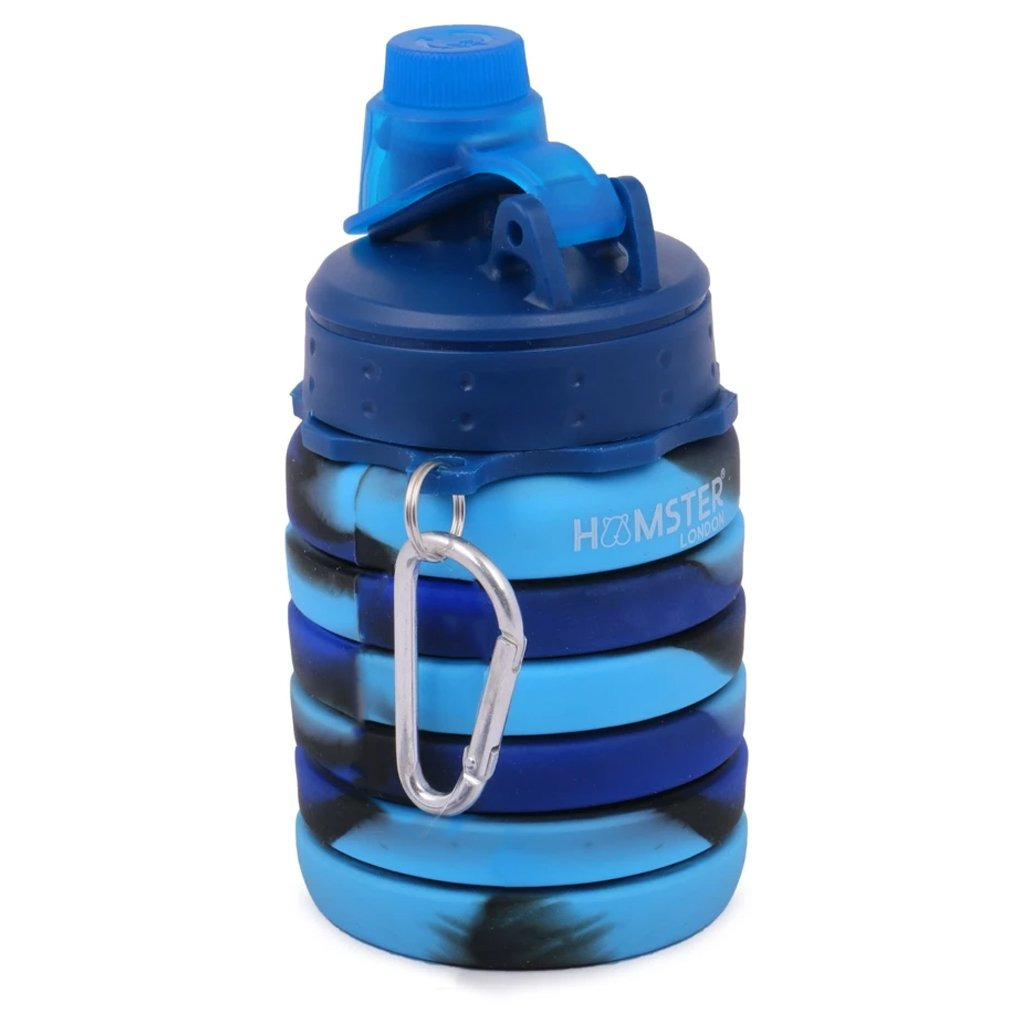 Silicone Expandable and Foldable Water Bottle Blue