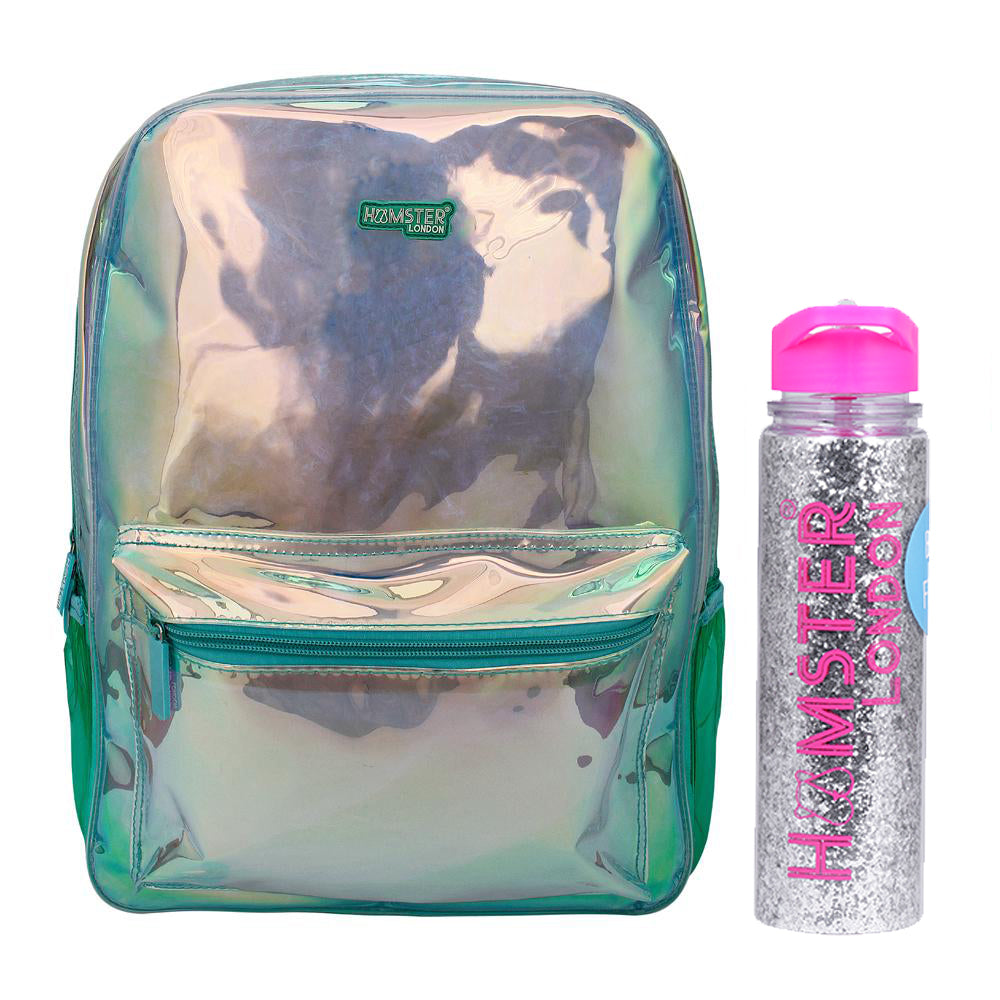 Girl's Fashion Shiny Backpack Aqua With Glitter Bottle