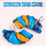 Silicone Expandable and Foldable Water Bottle Yellow Blue