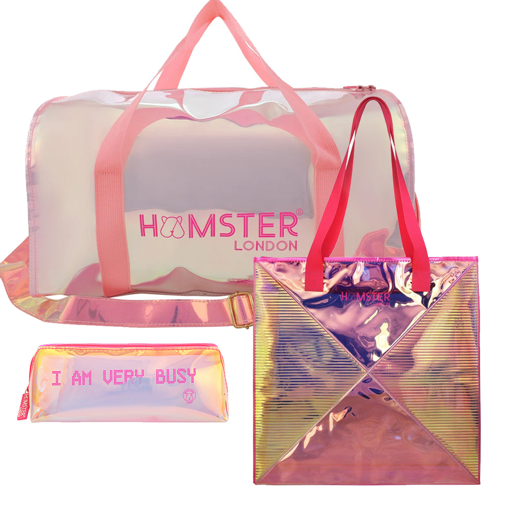 Shiny Duffle Bag Pink + Classic Tote Bag + Pouch