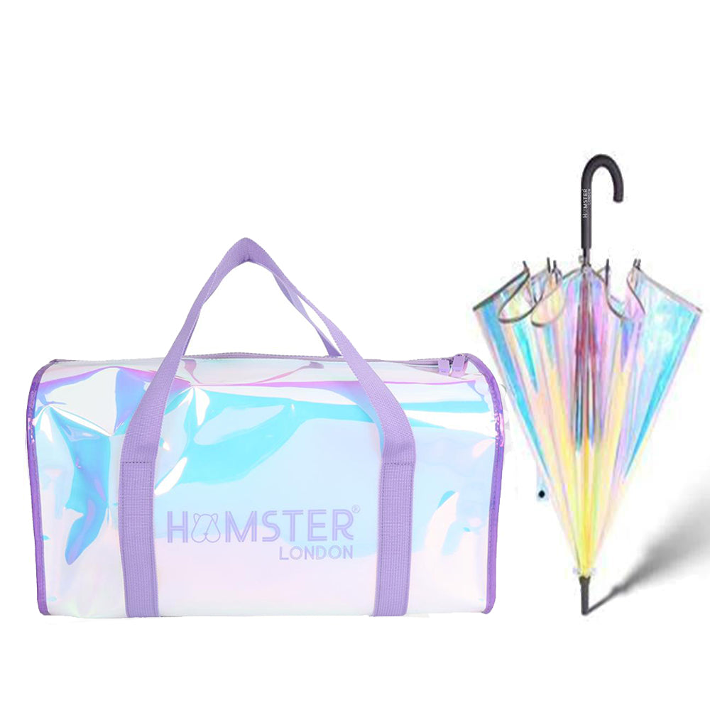 Shiny Duffle Bag Purple With Holo Umbrella Black