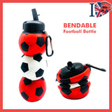 Football Silicone Water Bottle Red