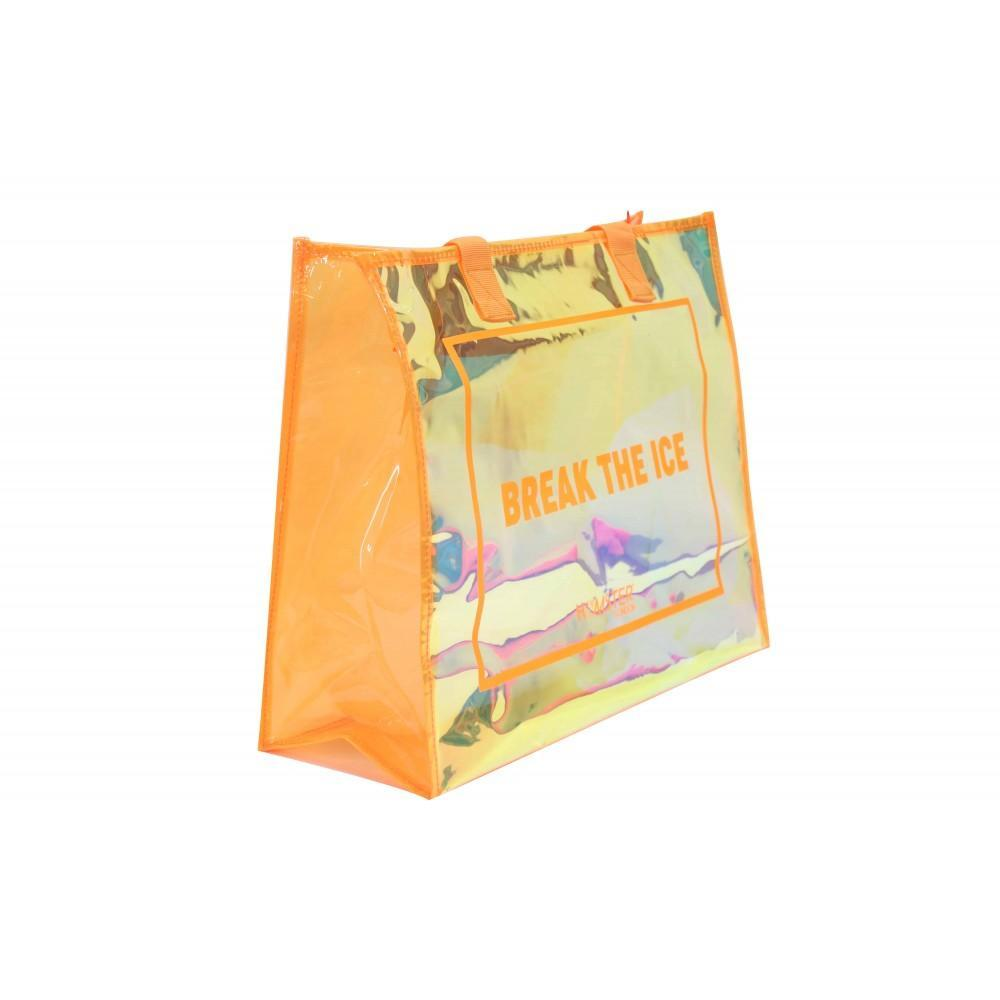 Tote Bag Orange With Makeup Pouch Set of 3