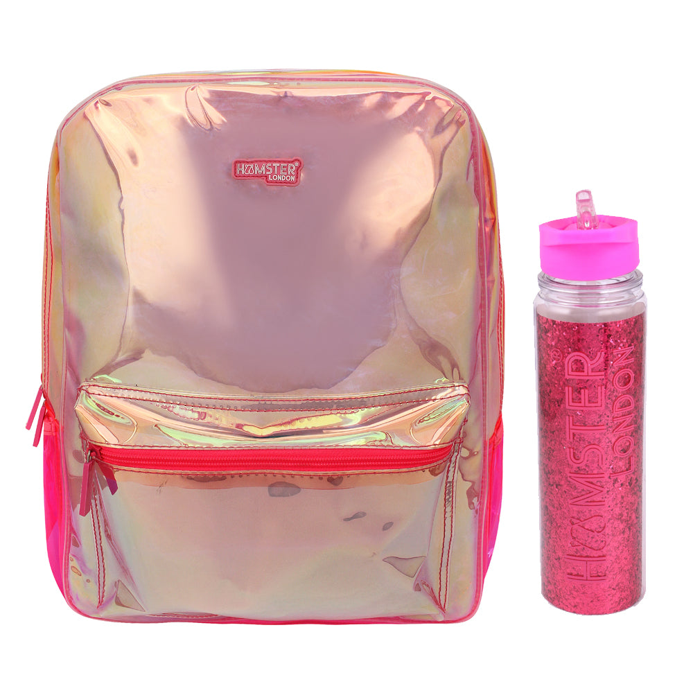 Girl's Fashion Shiny Backpack Pink With Glitter Bottle
