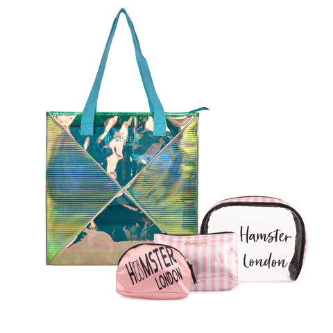 Classic Tote Bag Aqua With Makeup Pouch Set Of 3