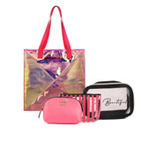 Classic Tote Bag Pink With Makeup Pouch Set Of 3