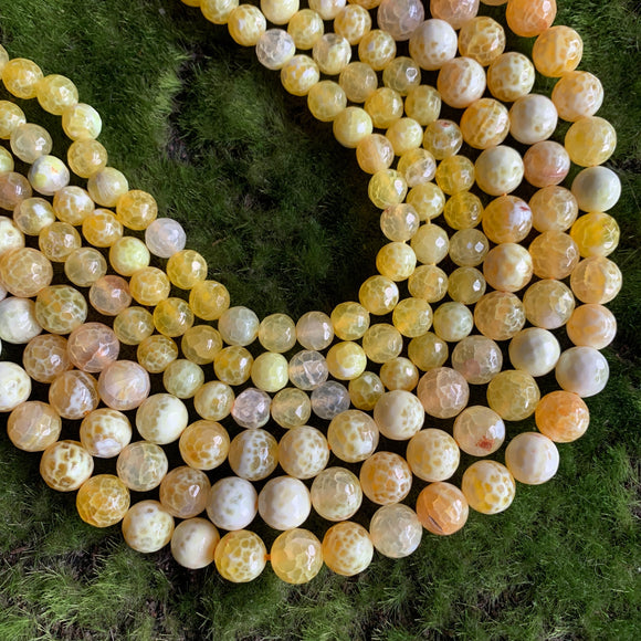 Fire Agate - Yellow Faceted Rounds