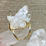 clear quartz point cluster ring with adjustable band