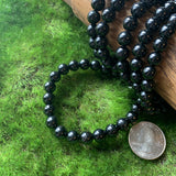 Black Tourmaline Stretch Bracelets - 8mm