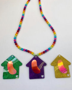 Rainbow Bead Necklace with Glitter Medallion