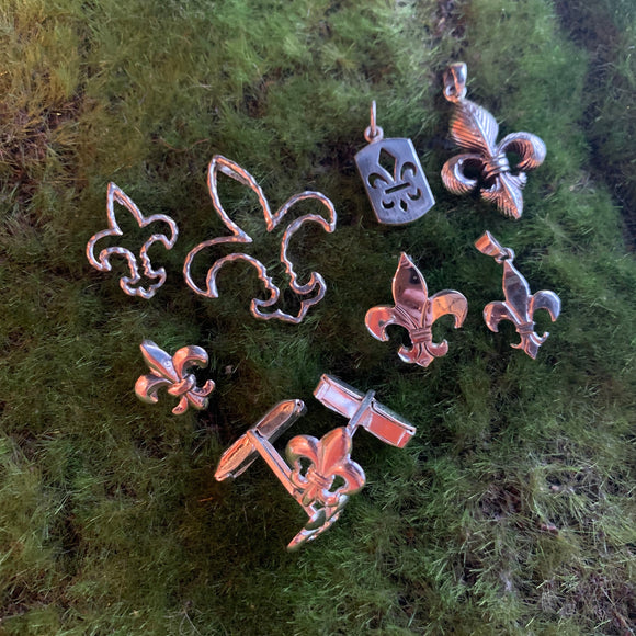 Sterling Silver Fleur de Lis Charms and Cuff Links