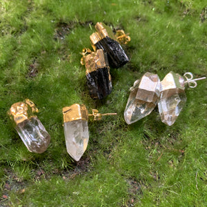 Black Tourmaline and Quartz Point Earrings