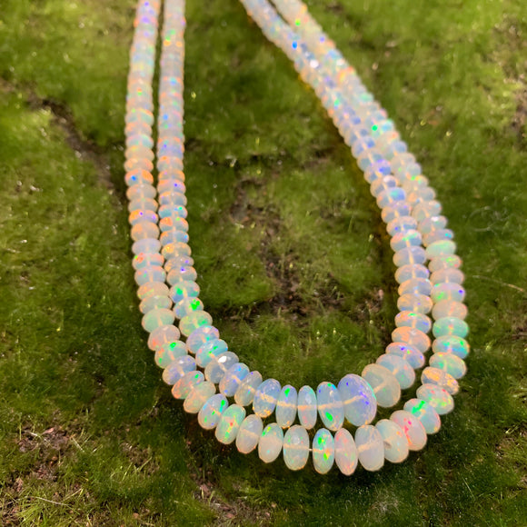 Ethiopian White Opal - Larger Faceted 5-9mm Graduated Full Strands