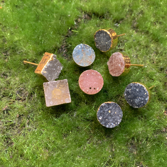 Small Druzy Stud Earrings