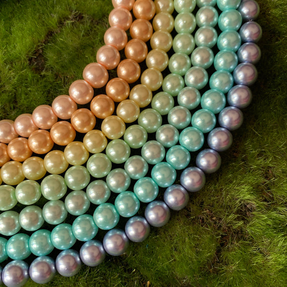 8mm Glass Pearl Pastel Rainbow Set