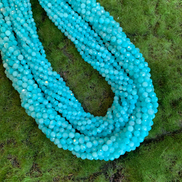 3mm faceted round blue Amazonite bead strands 4mm faceted round blue Amazonite beads strands